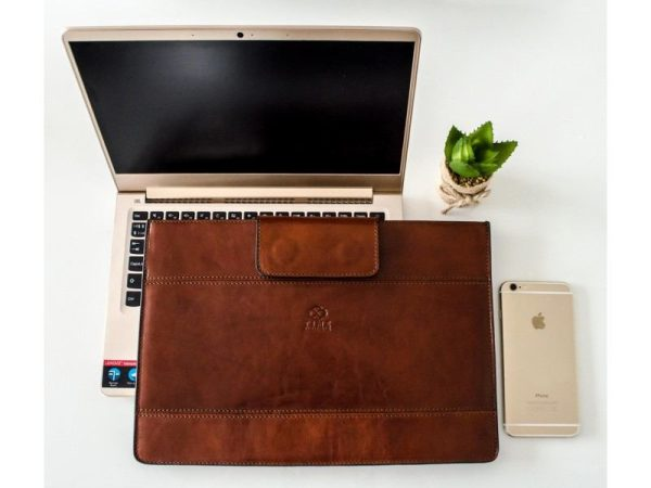 Brown Real Leather Laptop Sleeve1