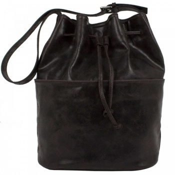 Dark Brown Aged Leather Purse - Waomi