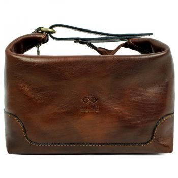Dark Brown Genuine Leaher Toiletry Bag - Autumn Leaves