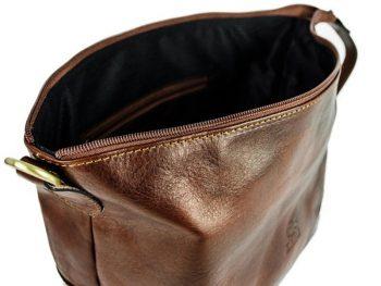 Dark Brown Genuine Leaher Toiletry Bag - Autumn Leaves10