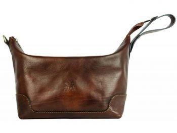 Dark Brown Genuine Leaher Toiletry Bag - Autumn Leaves2
