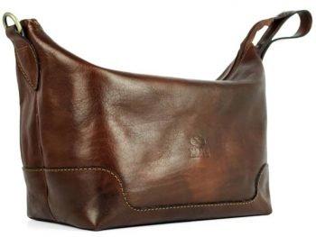 Dark Brown Genuine Leaher Toiletry Bag - Autumn Leaves3