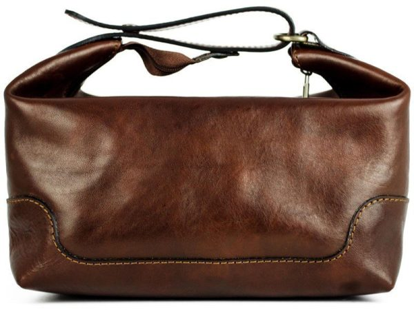 Dark Brown Genuine Leaher Toiletry Bag - Autumn Leaves4