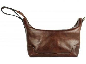 Dark Brown Genuine Leaher Toiletry Bag - Autumn Leaves5