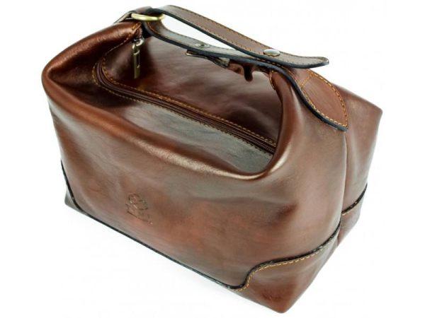 Dark Brown Genuine Leaher Toiletry Bag - Autumn Leaves6