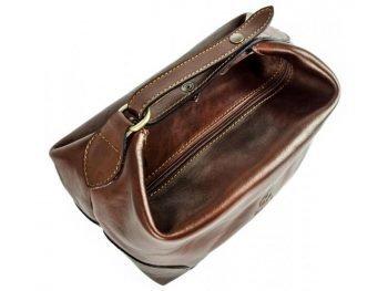 Dark Brown Genuine Leaher Toiletry Bag - Autumn Leaves7