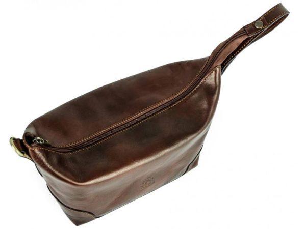 Dark Brown Genuine Leaher Toiletry Bag - Autumn Leaves8