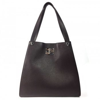 Dark Brown Leather Tote Bag For Women - Delanna