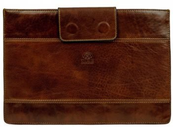 Dark Brown Real Leather Laptop Sleeve