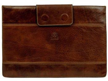 Dark Brown Real Leather Laptop Sleeve