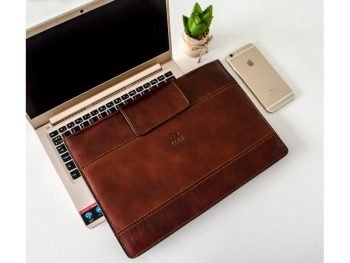 Dark Brown Real Leather Laptop Sleeve1