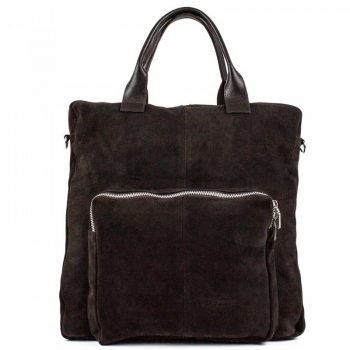 Dark Brown Spacious Chamois Leather Tote Bag - Maronne
