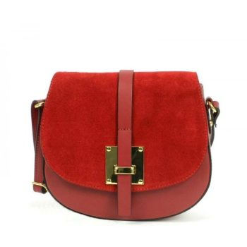 Elegant Bright Red Shoulder Handbag - Marta