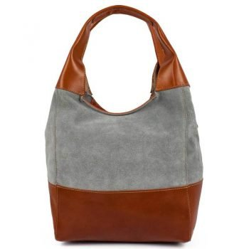 Gray And Brown Chamois Leather Purse For Women - Doppio