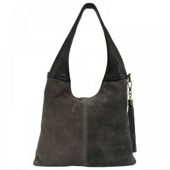 Gray Chamois Leather Purse For Women - Bella
