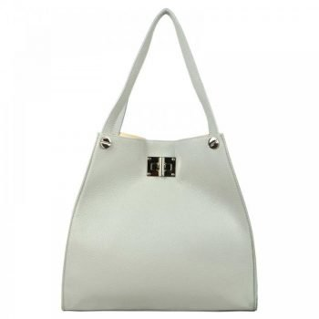 Gray Leather Tote Bag For Women - Delanna
