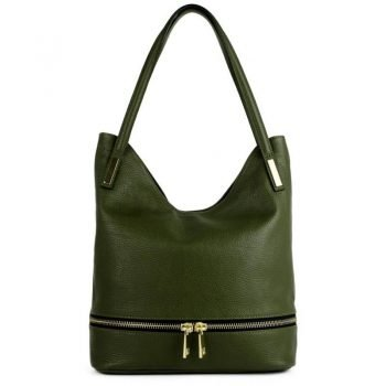 Green Real Leather Messenger Purse - Pavia