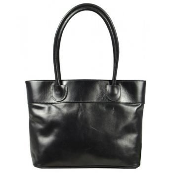 Long Handle Spacious Black Leather Bag - Gerarda