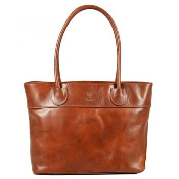 Long Handle Spacious Brown Leather Bag - Gerarda