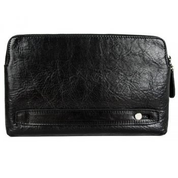 Men's Black Leather Clutch Bag - Ulysses