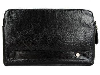 Men's Black Leather Clutch Bag - Ulysses
