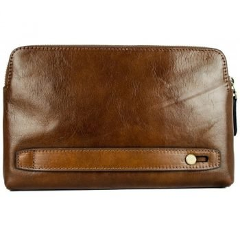 Men's Brown Leather Clutch Bag - Ulysses