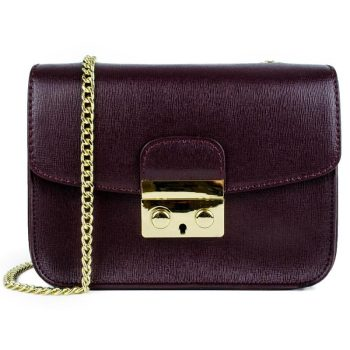 Purple Elegant Leather Handbag - Milan