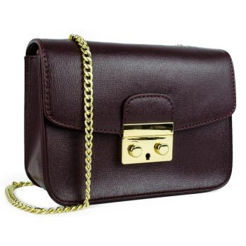 Purple Elegant Leather Handbag - Milan1