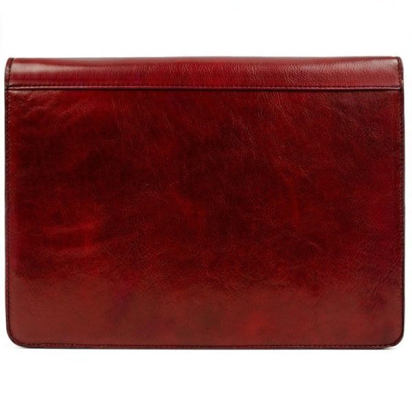 Red Classic Lether Document Folder - Candide