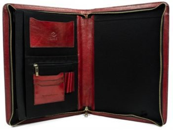 Red Classic Lether Document Folder - Candide3