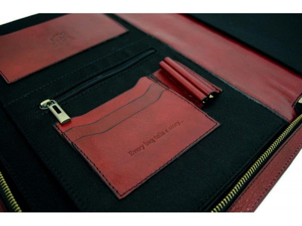 Red Classic Lether Document Folder - Candide4