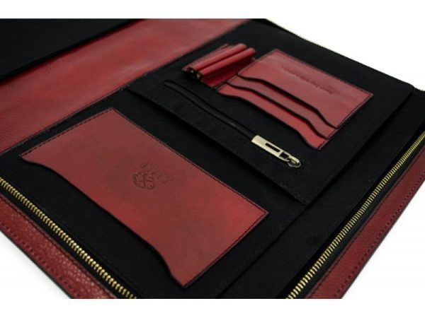 Red Classic Lether Document Folder - Candide5