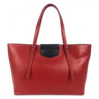 Red Long Handle Leather Tote Bag - Fabia