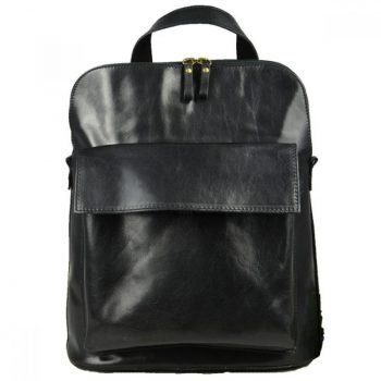 Rough Black Leather Backpack - T-Nobile