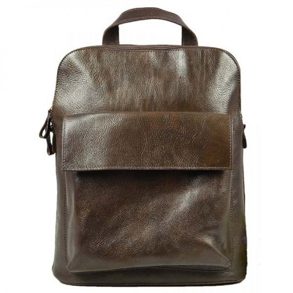 Rough Dark Brown Leather Backpack - T-Nobile
