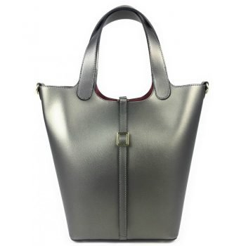 Silver Modern Style Leather Tote Bag With Large Capacity - Piera