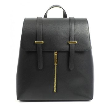 Stylish Black Leather Business Backpack - Sandy