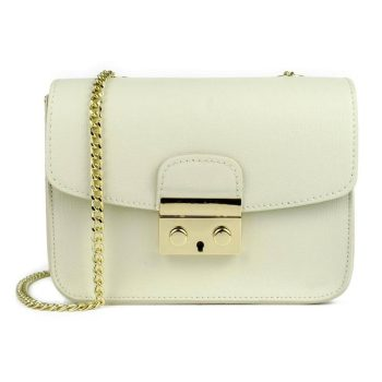 White Elegant Leather Handbag - Milan