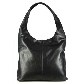 Women's Black Leather Messenger Bag - Monro