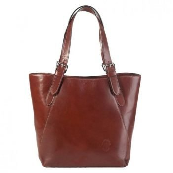 Women's Brown Elegant Leather Shoulder Tote Bag - Koletta