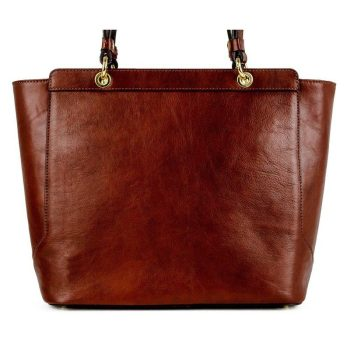 Women's Brown Natural Leather Tote Bag - Policoro