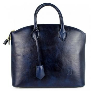 Women's Dark Blue Genuine and Natural Italian Leather Tote Bag - Verona