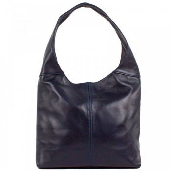 Women's Dark Blue Leather Messenger Bag - Monro