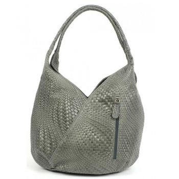 Women's Gray Handmade Patterned Leather Purse - Arianna