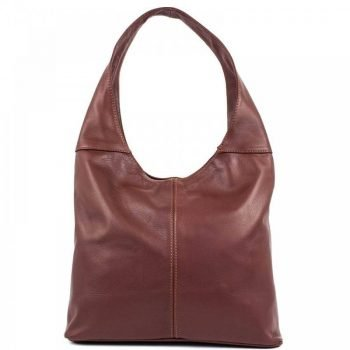 Women's Marron Brown Leather Messenger Bag - Monro
