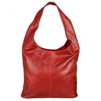 Women's Red Leather Messenger Bag - Monro
