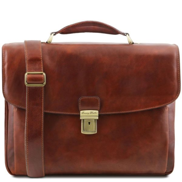 ALESSANDRIA Leather multi compartment TL SMART laptop briefcase
