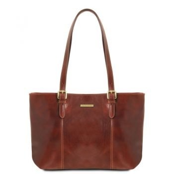 ANNALISA Leather shopping bag with two handles