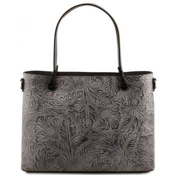 ATENA Leather shopping bag with floral pattern