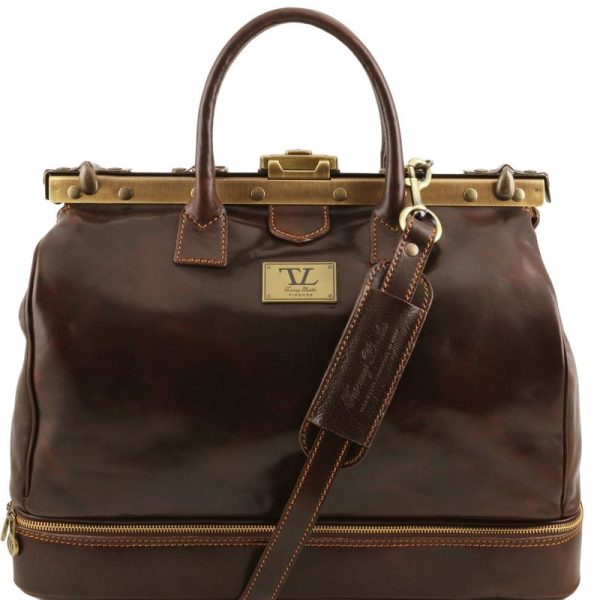 BARCELLONA Double-bottom Gladstone Leather Bag
